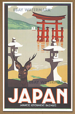 1930's Japan Travel Poster Art Print 11 x 17 Japanese Government Railways