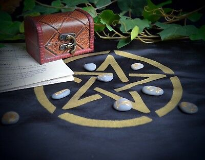 Witches Casting Stones Wicca Pagan Witchcraft Runes Divination Altar Cloth