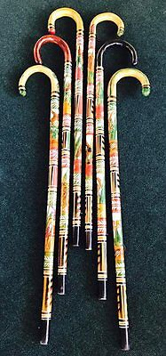 Hand Carved Painted Authentic Wooden Mexican Walking Cane Stick Staff Aztec