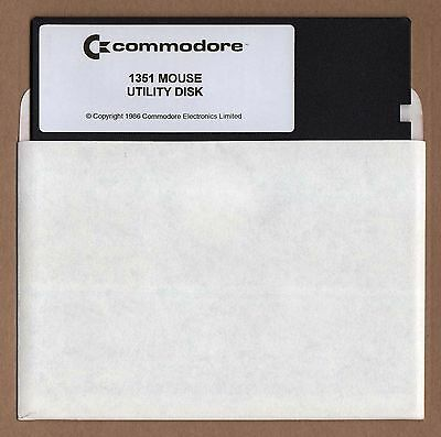 Commodore 1351 Mouse C64/128 5.25 Driver & Utilities Floppy Disk