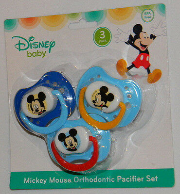 New Disney Baby Mickey Mouse Blue Red Yellow Orthodontic Pacifier 3 Pack Set