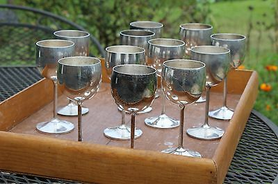 Set of 12 Silver Wine goblets made in Spain