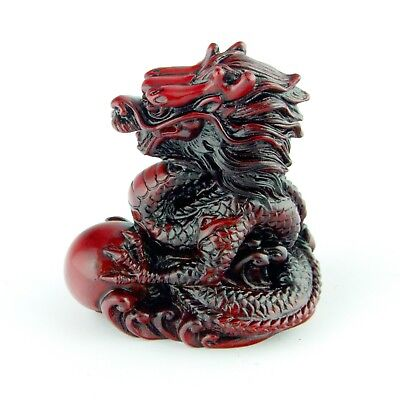 Chinese Zodiac Dragon Statue Lucky Figurine Feng Shui Animal Redwood Color 4in