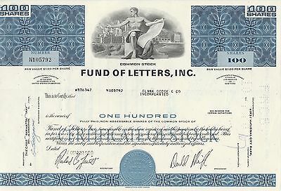 Mds Usa Fund Of Letters, Inc. 100 Shares 1969 Common Stock