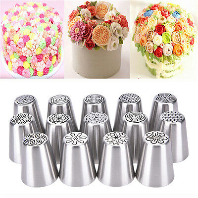 Russian Icing Piping Nozzle Tip Cake Decorating Sugarcraft Pastry Tool 14TypesFT