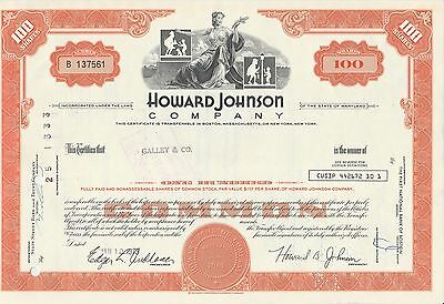 Mds Usa Howard Johnson Company 100 Shares 1973 Common Stock