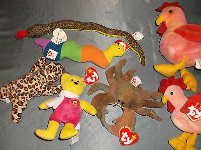 Six Ty Teenie Beanie Babies from McDonalds + Doodle Rooster