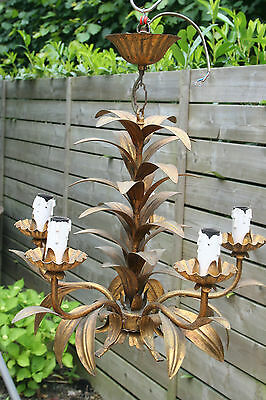 1960's Metal gold gilted palm tree leaves mid century chandelier 5 arms
