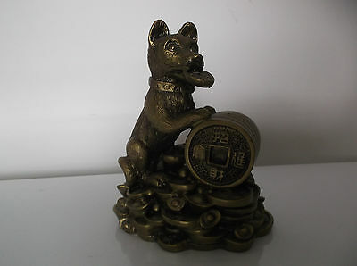 Lucky Chinese Fenshui - Wealth Money Coin Dog Statue