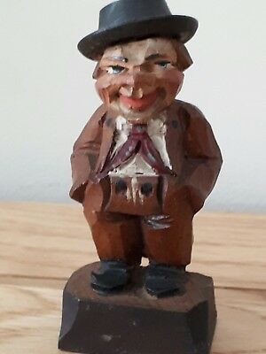 Vintage Carved Wooden Small Man Figure