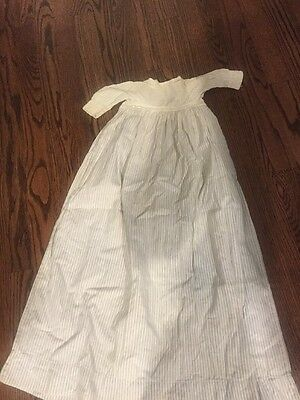 Antique Christening Gown, 100+ Years Old, Blue/White Ticking