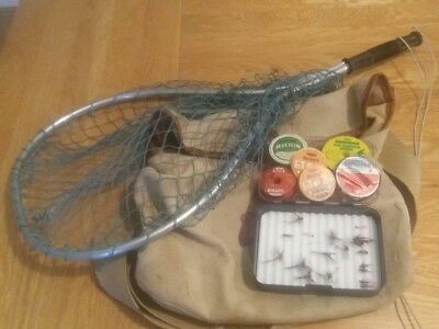 vintage fly fishing bag, net, fly box ,lines,ECT