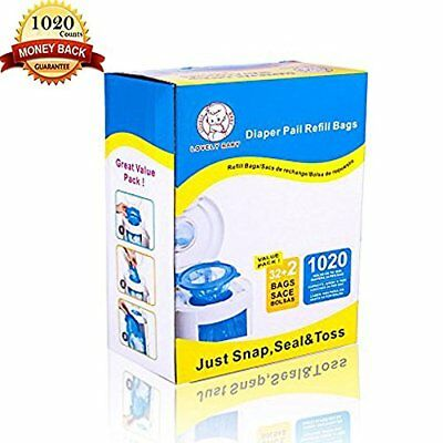 Diaper Pail Refill Bags 1020 Counts Fully Compatible with Arm&Hammer Dispos...