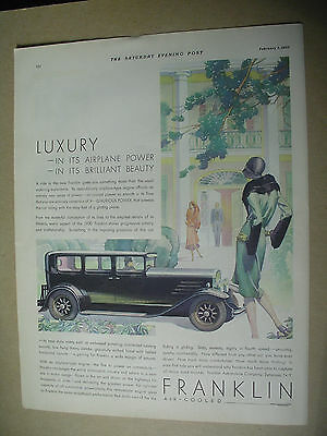 Vintage 1930 magazine ad for Franklin - Air cooled, luxurious power.