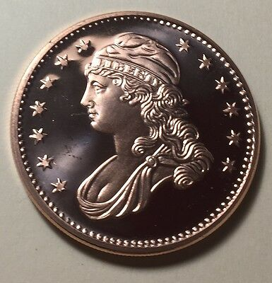United States Liberty Bust Pure Copper One Ounce (1oz) Bullion Round - Coin