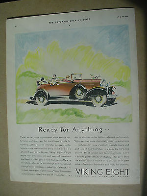 Vintage 1930 magazine ad for General Motor`s, Viking Eight, automobile.