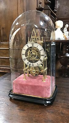 Beautiful Antique Skeleton Clock Great Condition With Glass Dome 1840