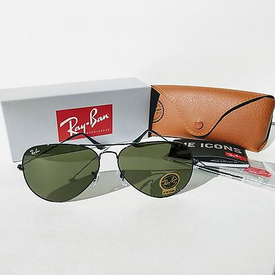 Ray-Ban Aviator Black Green Classic G-15 62mm RB3026 L2821 Unisex Sunglasses