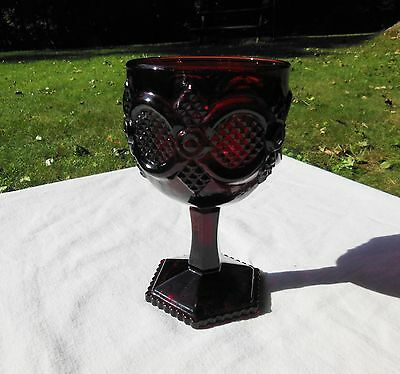 1 Avon 1876 Cape Cod Collection Ruby Red Glass Footed Stem 10 oz Water Goblet