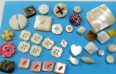 LOT antique Vtg SHAPES MOP Pearl Shell Buttons Flowers - 3D -Carved-Dyed ++