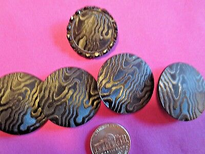 Fabulous LARGE Stunning Design Black Glass Buttons (5) Square Shank Vintage