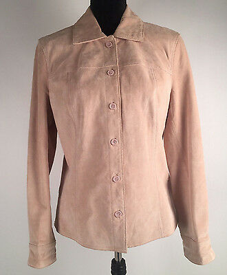 Cherokee Women's Suede Jacket Size M Button Down Leather Coat