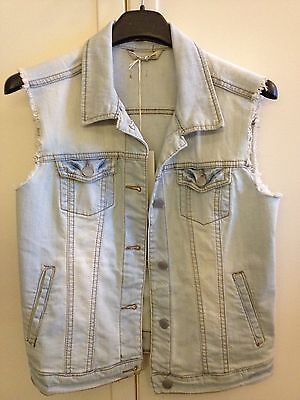 MANGO gilet giubbotto smanicato jeans sleavless jacket tg S light denim NEW