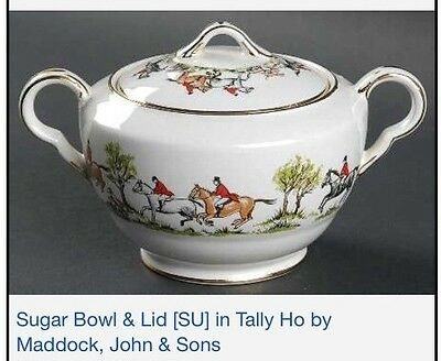 Vintage Maddock England Tally Ho Pattern Sugar Bowl and Lid 1940's RARE PRISTINE