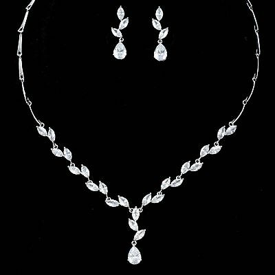 White Gold Plated Zirconia CZ Necklace Earrings Bridal Wedding Jewelry Set 06472