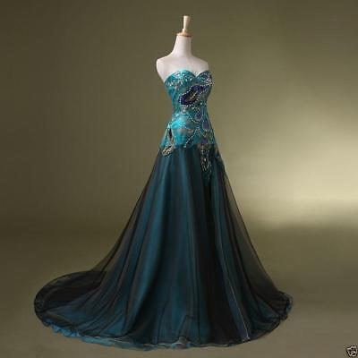 New Stock Peacock Prom Dress Bridal Wedding Gown Formal Evening Party K7457
