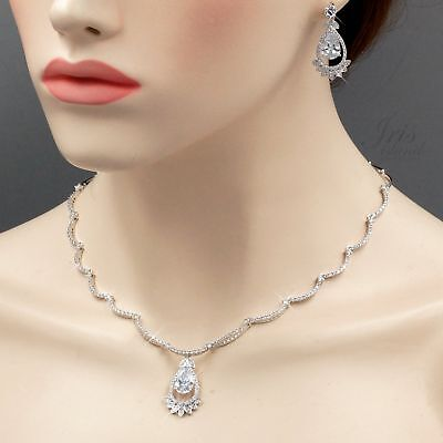White Gold Plated Zirconia CZ Necklace Earrings Bridal Wedding Jewelry Set 06504