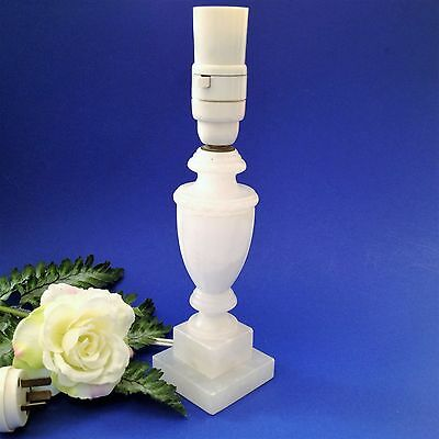 60's Vintage - White Alabaster Lamp Base Lamp Stand - 27cm Tall -