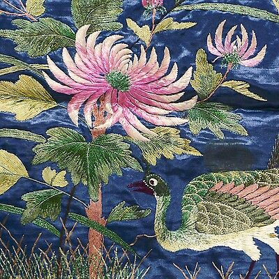 Antique China Embroidery Panel Peacock under Tree