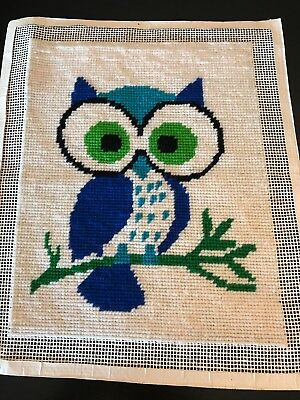 Vintage Owl Needlepoint Finished Picture