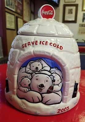 2005 Coca Cola Polar Bear White Igloo Ceramic Cookie Jar Serve Ice Cold Coke