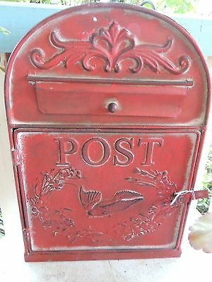RUSTIC RED MAIL BOX LETTER PARCEL POST BOX  - 35cm x 24cm