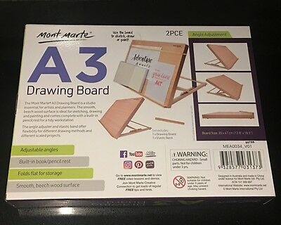A3 Wooden Drawing Board Mont Marte Foldable Adjustable Easel Art Craft Sketch