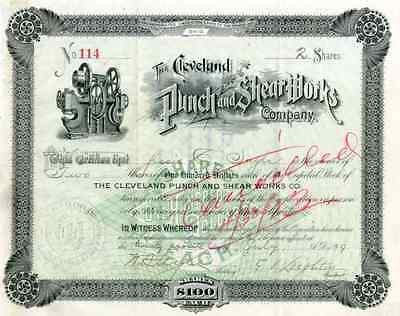 1899 Cleveland Punch & Shear Works Stock Certificate