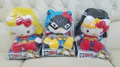 "HELLO KITTY x DC Comics WONDER WOMAN SUPERGIRL BATGIRL 10.5"" Plush SET"