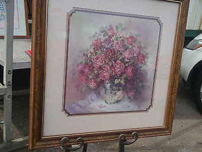 """Home Interior by Julia Crainer picture Glass bowl w burgandy  roses 18.5"""" X 18.5"""