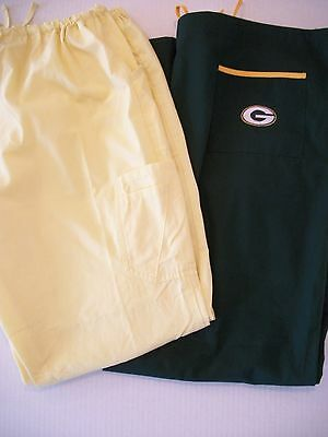 Lot Of 2 Pair Womens Size Xxl Scrub Pants Green Bay Packers And Solid Yellow Nic