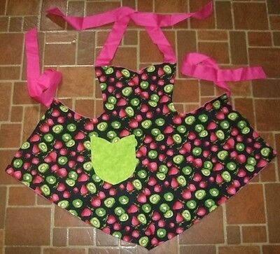 Girl's  Bib Apron Reversible Strawberry Kiwis Fruit Pink
