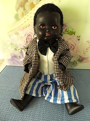Vintage doll early Black Palitoy boy England composition 40cm Antique African