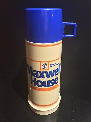 Vintage Maxwell House Coffee Thermos Beige With Blue Cup Near Mint Condition