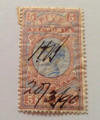 Victoria Australia Stamp Duty, 5 Pounds 1890
