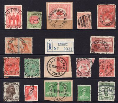 Tasmania mixed group of postmarks on pre-decimal issues inc KGV Kangaroo etc