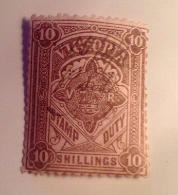 Victoria Australia Stamp Duty, Ten Shillings 10 /-, 1883