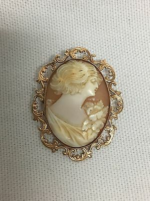 Semco 10K Yellow Gold Cameo Carved Shell Brooch Pin