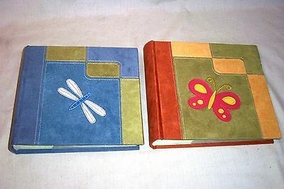 "2 Unused Velour Cover Photo Albums 200 4""x6"" w/ Writing Area 50 Page Butterfly"