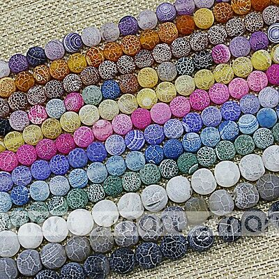 Mixed Natural Enhanced Agate Efflorescence Design Round Loose Beads 6 8 10 12mm